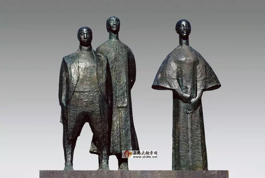 鉴湖三杰 / 曾成钢 /  140 × 75 × 135 cm / 玻璃钢(铸铜) /  1989